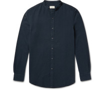Slim-fit Grandad-collar Cotton-seersucker Shirt