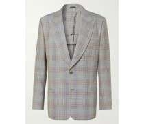 Prince of Wales Checked Silk and Wool-Blend Suit Jacket