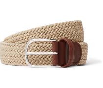 4cm Leather-Trimmed Woven Elastic Belt