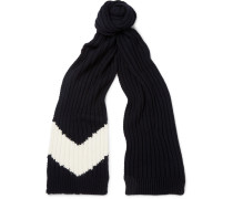 Ribbed Chevron Intarsia Wool Scarf