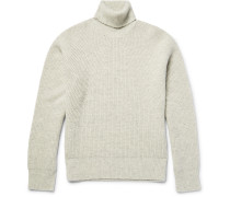 Nelden Ribbed Mélange Camel Hair Rollneck Sweater