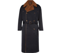 Double-breasted Shearling-lined Virgin Wool And Cotton-blend Coat