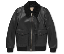 Brit Shearling-trimmed Textured-leather Jacket