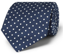 8cm Polka-dot Mulberry Silk And Cotton-blend Jacquard Tie