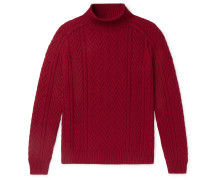 Slim-Fit Cable-Knit Baby Cashmere Mock-Neck Sweater