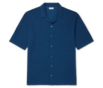 Camp-Collar Cotton-Piqué Shirt