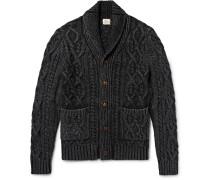 Shawl-collar Indigo-dyed Cable-knit Cotton Cardigan