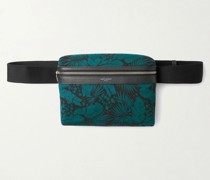 Leather-Trimmed Printed Canvas Camera Bag