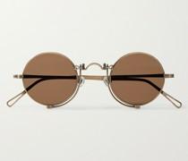 Round-Frame Gold-Tone Titanium Sunglasses