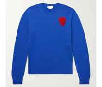 Slim-Fit Crochet-Trimmed Cashmere Sweater