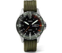 Navi Land 38mm Stainless Steel and Ballistic Nylon-Webbing Watch