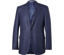 Blue Slim-fit Checked Wool, Silk And Linen-blend Blazer