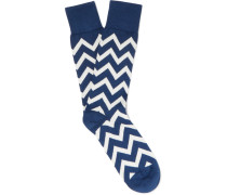 Chevron-patterned Cotton-blend Socks