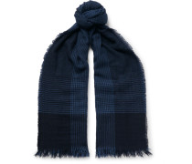 Fringed Prince Of Wales Checked Cashmere Scarf