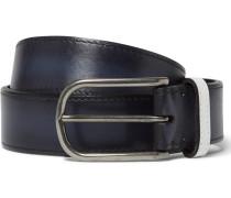 3.5cm Blue Polished-leather Belt