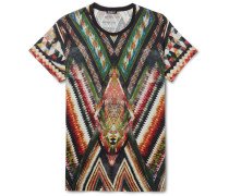 Printed Cotton And Linen-blend Jersey T-shirt