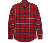 Button-down Collar Checked Stretch-cotton Shirt