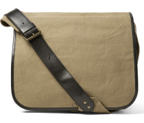 Leather-trimmed Canvas Messenger Bag
