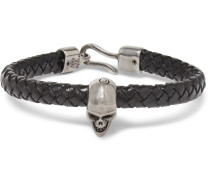 Braided Leather And Burnished Silver-tone Skull Bracelet