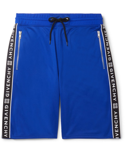 Logo-jacquard Tech-jersey Drawstring Shorts - Blue