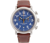 The Runwell 41mm Chronograph Stainless Steel And Leather Watch