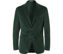 Green Slim-fit Stretch-cotton Corduroy Blazer