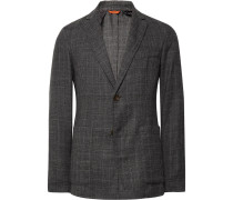 Grey Slim-fit Unstructured Prince Of Wales Checked Wool Blazer