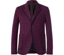 Burgundy Marco Slim-fit Contrast-tipped Houndstooth Woven Suit Jacket