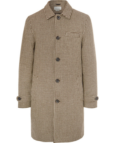 Beaumont Houndstooth Wool Coat - Brown