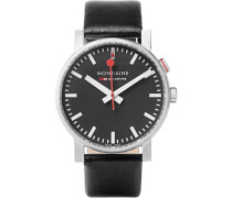 Evo Alarm Stainless Steel And Leather Watch