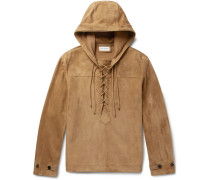 Lace-up Suede Hooded Jacket