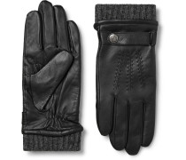 Henley Leather And Wool-blend Tech Gloves