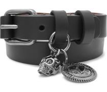 Leather And Gunmetal-tone Wrap Bracelet