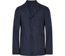 Navy Slim-fit Unstructured Silk And Wool-blend Blazer
