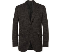 Black Slim-fit Stretch Cotton-blend Canvas Blazer