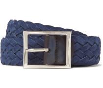 3.5cm Blue Woven Suede Belt