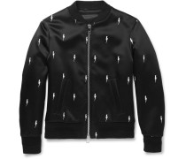 Embroidered Shell Bomber Jacket