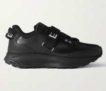 Aerial Runner Rubber-Trimmed Leather Sneakers