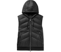Leather-Trimmed Quilted Shell and Cotton-Jersey Down Hooded Gilet
