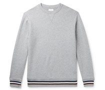 Stripe-Trimmed Mélange Fleece-Back Cotton and Cashmere-Blend Sweatshirt