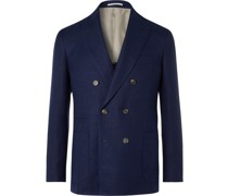 Unstructured Double-Breasted Linen, Wool and Silk-Blend Blazer