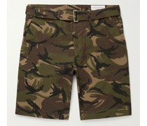 Julian Belted Camouflage-Print Cotton Shorts