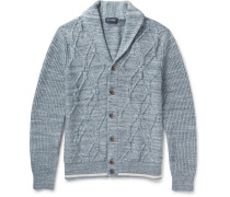 Shawl-Collar Cable-Knit Cotton Cardigan