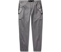 Tapered Belted Shell-Trimmed Stretch-Cotton Twill Cargo Trousers