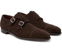 Thomas Cap-Toe Suede Monk-Strap Shoes