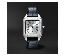 Santos-Dumont 31.4mm Large Steel and Alligator Watch, Ref. No. WSSA0022