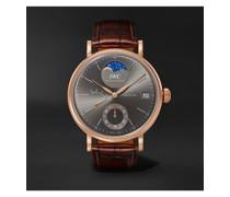 Portofino Hand-Wound Moon Phase 45mm 18-Karat Rose Gold and Alligator Watch, Ref. No. IW516403