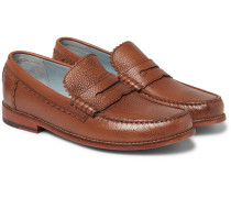 Ashley Pebble-grain Leather Penny Loafers