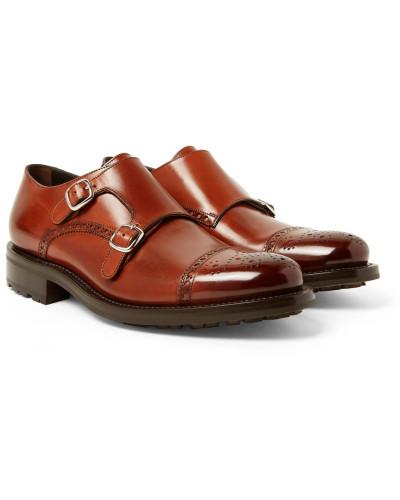 Bristol Burnished-leather Monk-strap Brogues