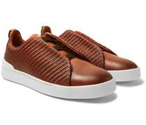 Triple Stitch Pelle Tessuta Leather Slip-on Sneakers